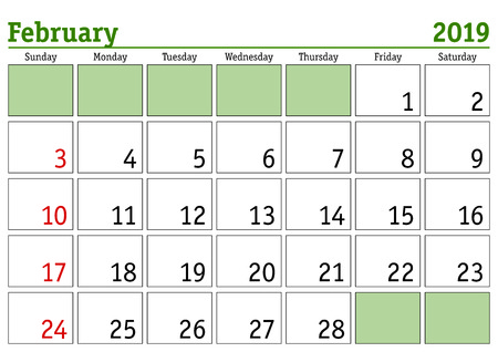 Simple digital calendar for February 2019. Vector printable calendar. Monthly scheduler. Week starts on Sunday. English calendar