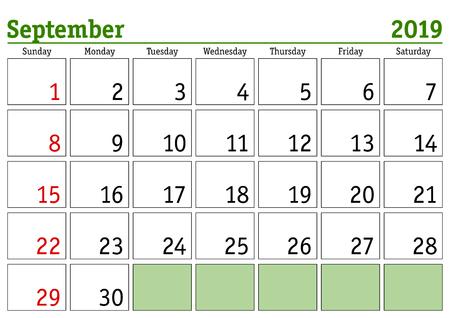 Simple digital calendar for September 2019. Vector printable calendar. Monthly scheduler. Week starts on Sunday. English calendar
