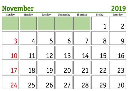 Simple digital calendar for November 2019. Vector printable calendar. Monthly scheduler. Week starts on Sunday. English calendar Ilustração