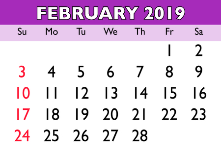 2019 calendar February month. Vector printable calendar. Monthly scheduler. Week starts on Sunday. English calendar Imagens - 117713182