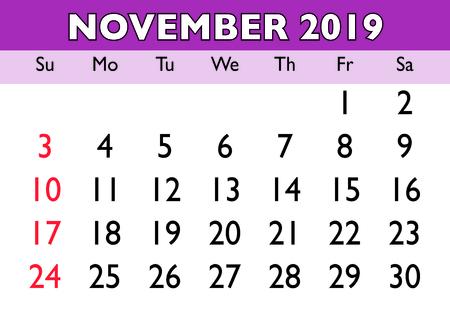 2019 calendar November month. Vector printable calendar. Monthly scheduler. Week starts on Sunday. English calendar