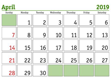 Simple digital calendar for April 2019. Vector printable calendar. Monthly scheduler. Week starts on Sunday. English calendar Ilustração