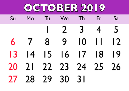 2019 calendar October month. Vector printable calendar. Monthly scheduler. Week starts on Sunday. English calendar