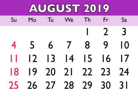 2019 calendar August month. Vector printable calendar. Monthly scheduler. Week starts on Sunday. English calendar Ilustração