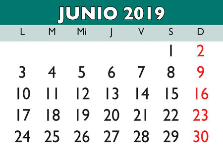 June month in a year 2019 wall calendar in spanish. Junio 2019. Calendario 2019 Ilustração