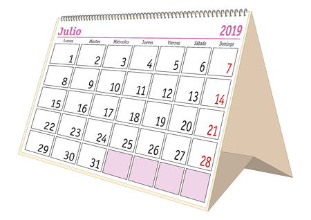July sheet in an spanish desk Calendar for year 2019. Monthly planner and scheduler. Julio 2019 Ilustração