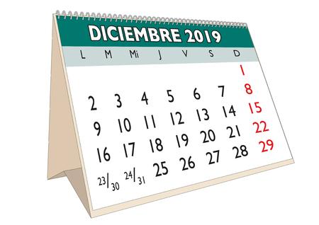 2019 December  month in a desk calendar in spanish. Week starts on Monday