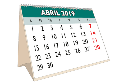 2019 April month in a desk calendar in spanish. Week starts on Monday