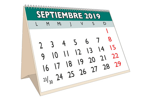 2019 September  month in a desk calendar in spanish. Week starts on Monday