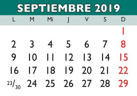 September month in a year 2019 wall calendar in spanish. Septiembre 2019. Calendario 2019 Ilustração