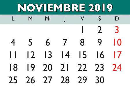 November month in a year 2019 wall calendar in spanish. Noviembre 2019. Calendario 2019 Ilustração