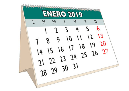 2019 January month in a desk calendar in spanish. Week starts on Monday Ilustração