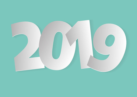 Happy new year 2019. Vector illustration in white tones over a light blue background