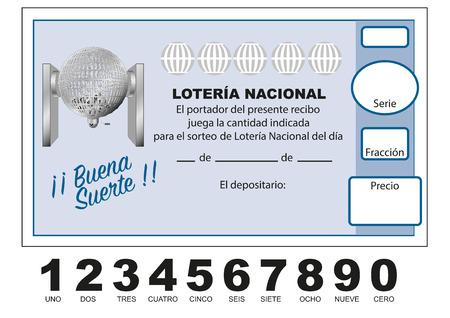 Participacion Loteria Nacional. Spanish national lottery tenth. Participacion, decimo. Vector illustration