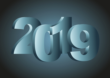 Happy new year 2019. Vector illustration in blue tones
