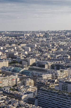 Aerial view of the streets of Paris as seen from Eiffel Tower