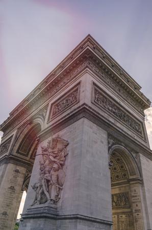 Detail on Triumphal arch of Paris. Arc de trionphe. Paris. France Imagens - 117713212