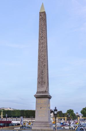 Detail on the obelisk in Concorde square. Paris. France