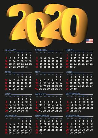 2020 calendar in english. Year 2018 calendar. Calendar 2018. Week starts on sunday. USA format. black background Imagens - 126311348