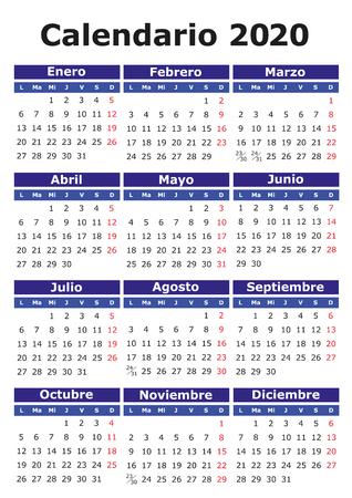 2020 vector calendar in Spanish. Easy for edit and apply. Calendario 2020 Ilustração