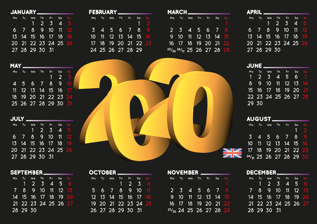 2020 black calendar in english UK. Year 2020 calendar. Calendar 2020. Week starts on monday. UK format Ilustração