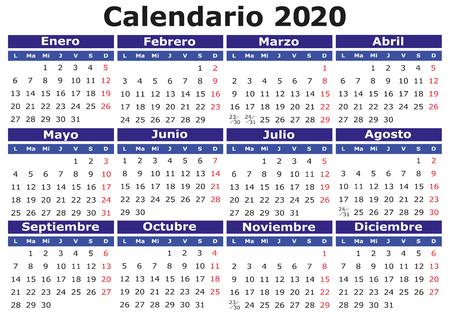 2020 vector calendar in Spanish. Easy for edit and apply. Calendario 2020 Illusztráció