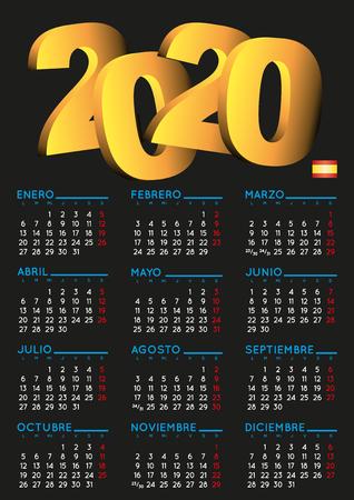 Spanish calendar 2020. Year 2020 calendar. Calendar 2020. calendario 2020. Black background Ilustração