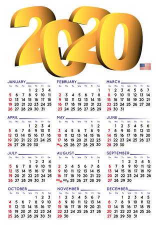 2020 calendar in english. Year 2018 calendar. Calendar 2018. Week starts on sunday. USA format. white background Ilustração