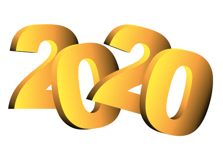 Happy new year 2020 greeting card. Vector illustration in gold over a white background