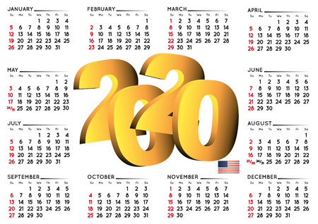 2020 calendar in english USA. Year 2020 calendar. Calendar 2020. Week starts on sunday. USA format Imagens - 126311354