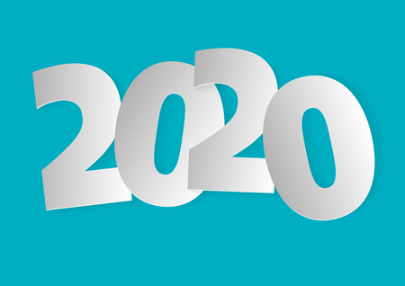 Happy new year 2020. Vector illustration in white tones over a light blue background Imagens - 126311355