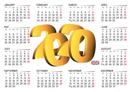 2020 calendar in english UK. Year 2020 calendar. Calendar 2020. Week starts on monday. UK format