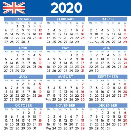 2020 elegant squared calendar english UK. Year 2020 calendar. Calendar 2020. Week starts on Monday