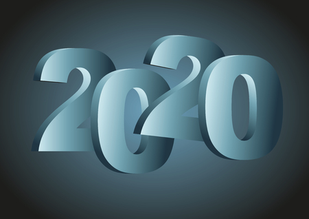 Happy new year 2020. Vector illustration in blue