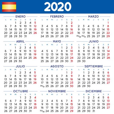 2020 elegant squared calendar in spanish. Year 2020 calendar. Calendar 2020. calendario 2020. week starts on monday Ilustração