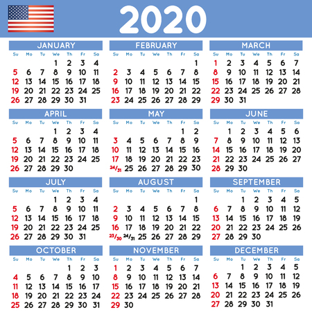2020 elegant squared calendar english USA. Year 2020 calendar. Calendar 2020. File easy to edit and apply. Week starts on Sunday Imagens - 126311361