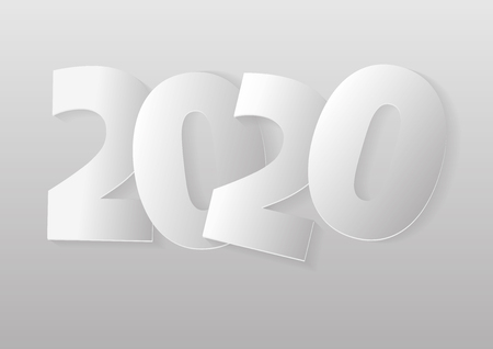 Happy new year 2020 greeting card. Vector illustration in gray tones Imagens - 126311362