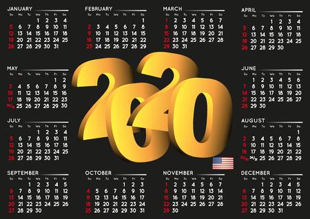 2020 black calendar in english USA. Year 2020 calendar. Calendar 2020. Week starts on sunday. USA format