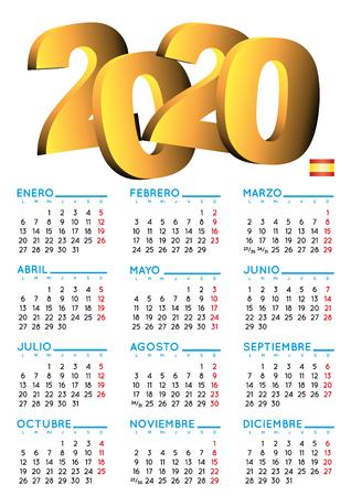 Calendario spagnolo 2020. Calendario anno 2020. Calendario 2020. calendario 2020. Sfondo bianco