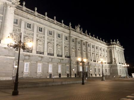 View on Palacio Real or Palacio de Oriente in the city of Madrid at night