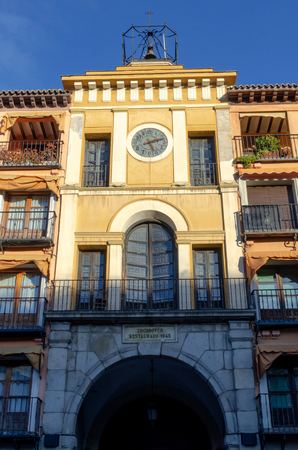 Zocodover square. Toledo. Detail on the clock tower and arch