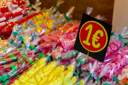 candies and confectionaries at price of one euro in the shop