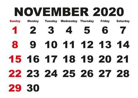 2020 calendar November month. Vector printable calendar. Monthly scheduler. Week starts on Sunday. English calendar Ilustración de vector