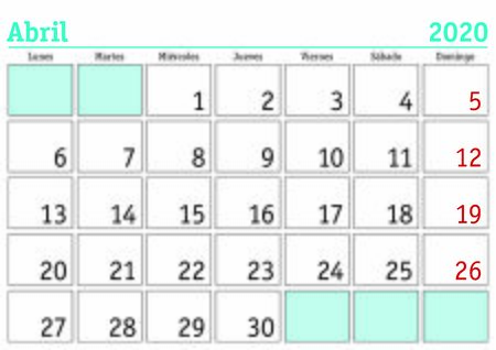 Mes de abril en un calendario de pared del año 2020 en español. Abril 2020. Calendario 2020