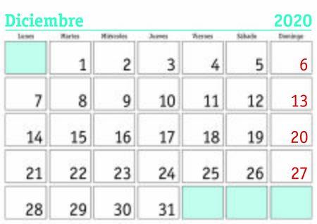 Mese di dicembre in un calendario da parete 2020 in spagnolo. Dicembre 2020. Calendario 2020