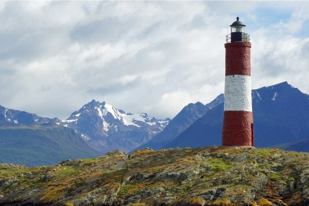 Lighthouse at the end of the world, Beagle Channel, Ushuaia, Argentina Stock Photo