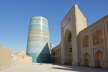 Kalta Minor, landmark of the ancient city of Khiva, silk road, Uzbekistan, Central Asia