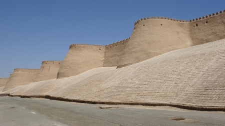 Wall of the ancient city of Khiva, silk road, Uzbekistan, Central Asia Stock Photo
