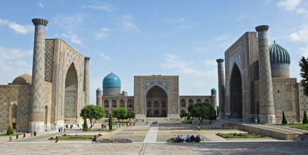 samarkand: Registon Place, the most famous attraction of Samarkand and one of the world known places along the silk road  Uzbekistan, Central Asia Editorial