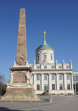 Obelisk and historic town hall, Potsdam, Germany, Europe